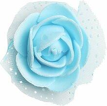 Prettyia 100x Schaumrosen Kunstblume künstlicher Rose Blumen Kunstrose Rosenblüten Hochzeitsdeko und Tisch Dekoration - Hellblau, 3.5cm