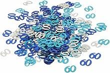 Prettyia Mettalic Konfetti Tischkonfetti Dekoration Set - Blau+Silber 60