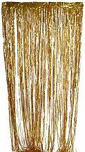 Prettyia Packung Folie Vorhang Metallic Folie Fransen Vorhänge Tür Fenster Vorhänge für Party Dekorationen - Gold, 2m X 1m