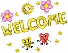 Prettyia Welcome Folienballon, Herz Luftballons
