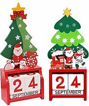PRETYZOOM 2 Stücke 2021 Weihnachtskalender Holz
