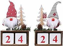 PRETYZOOM 2St. Weihnachtskalender Holz