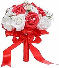 PRETYZOOM Hochzeit Blumenstrauß mit Band Braut