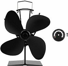 Preup EQ2-GD Stromloser Ventilator für Kamin Holzöfen Öfen, 4 Rotorblätter Kaminofen Ofenventilator, Effiziente Wärmeverteilung und Umweltfreundlich und Leise- schwarz (Ventilator + Thermometer)