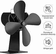 Preup EQ2-GD Stromloser Ventilator für Kamin Holzöfen Öfen, 4 Rotorblätter Kaminofen Ofenventilator, Effiziente Wärmeverteilung und Umweltfreundlich und Leise- schwarz (Ventilator)