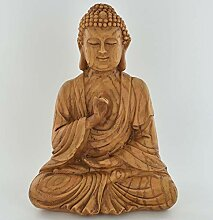 Prezentscom Kleine Buddha-Statue, Holz-Effekt,
