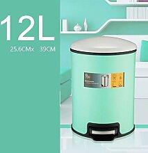 PRIDE H Edelstahl Mülleimer Haushalt Müll Kreative Mode Mülleimer Bad Küche Wohnzimmer Mülleimer Mute Bedeckte Mülleimer ( farbe : Grün , größe : 12l )