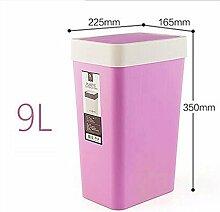 PRIDE H Kreativ mit einem quadratischen Trash Home WC Küche Kunststoff bedeckt Mülleimer Papierkorb ( farbe : Lila )