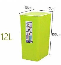 PRIDE H Kreativ Schütteln Cover Square Kunststoff Trash Home WC-Raum Wohnzimmer Schlafzimmer WC Mülleimer Deckel Mülleimer 12L ( farbe : 4 )