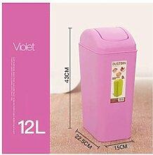 PRIDE H Kreativ Schütteln Cover Square Kunststoff Trash Home WC-Raum Wohnzimmer Schlafzimmer WC Mülleimer Deckel Mülleimer 12L ( farbe : 10 )