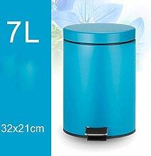 PRIDE H Kreative Abgedeckte Mülleimer mit Fußpedal Edelstahl Trash Home Wohnzimmer Küche WC Trash 7L ( farbe : G )