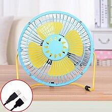 PRIDE S 6 Zoll USB-Ventilator-kleiner Ventilator-stummer Ventilator-beweglicher Sommer-Schreibtisch-kreativer Ventilator FANS ( Farbe : Blau )