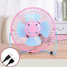 PRIDE S 6 Zoll USB-Ventilator-kleiner Ventilator-stummer Ventilator-beweglicher Sommer-Schreibtisch-kreativer Ventilator FANS ( Farbe : Pink )