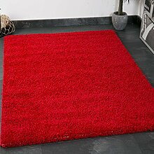 Prime Shaggy Farbe Rot Teppich Hochflor Langflor Teppiche Modern für Wohnzimmer Schlafzimmer - VIMODA, Maße:160x220 cm
