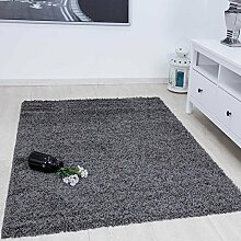 Prime Shaggy Teppich Farbe Anthrazit Hochflor Langflor Teppiche Modern für Wohnzimmer Schlafzimmer - VIMODA, Maße:Ø 80 cm Rund