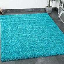 Prime Shaggy Teppich Farbe Türkis Hochflor Langflor Teppiche Modern für Wohnzimmer Schlafzimmer - VIMODA, Maße:150 cm Quadra