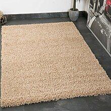 Prime Shaggy Teppich in Beige Hochflor Langflor Teppiche Modern für Wohnzimmer Schlafzimmer Einfarbig - VIMODA, Maße:200x280 cm