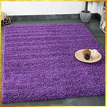 Prime Shaggy Teppich Lila Hochflor Langflor Teppiche Modern für Wohnzimmer Schlafzimmer Einfarbig - VIMODA, Maße:100x200 cm