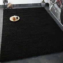 Prime Shaggy Teppich Schwarz Hochflor Langflor Teppiche Modern für Wohnzimmer Schlafzimmer - VIMODA, Maße:70x250 cm