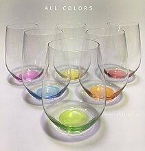 Prime-Versand: Design Trinkglas, O-Glas, Weinglas, Wasserglas, 6er Set Gläser für Rotwein, Weißwein, Wasser, Saft, Cocktails, Tischlicht, Windlicht, farbig, bunt, Farbe. Stilvolle Impressionen