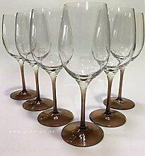Prime-Versand: Design Weinglas, 6er Set Gläser Rotwein, Weißwein, hochwertig und edel. Farbe cognac, farbig, bunt, stilvolle Impressionen, tolles Ambiente