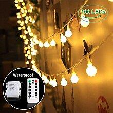 PrimeWeek Lichterkette 10 Meter 100 LED, Warmweiß