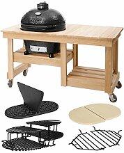 Primo PrimoOval300L-Set2 Oval 300 Large im Set mit Counter Top Tisch, Trennscheibe, Hitzeschutzplatten und zusätzlichen Rosten