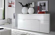 Primo Sideboard 4 Türen 1 Klappe, Holz, Weiß