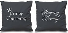 Prince Charming Sleeping Beauty grau Kissen