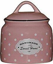 Princess Taufkleid Vorratsdose mit Deckel aus Keramik Modell 2 mit Punkten rosa 800 ml