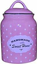 Princess Taufkleid Vorratsdose mit Deckel aus Keramik - Modell 2 mit Punkten rosa 1.500ml