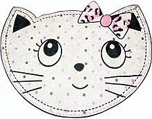 Print Teppich waschbar Kinderteppich Spielteppich Kinderzimmer Teppich mit Katze Design in Rosa Schwarz Weiss Grau Größe 100x140 cm