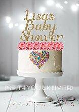 Print4you Baby Dusche Name (willona Schriftart) personalisierbar Glitzer Karte stehend Cupcake Kuchen Topper Dekoration