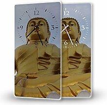 Printalio - Buddha Gold - Lautlose Wanduhr mit