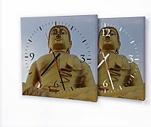 Printalio Buddha Gold - Moderne Wanduhr mit