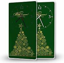 Printalio - Weihnachtsbaum Gold - Moderne Wanduhr