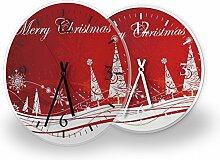Printalio - Weihnachtswald - Lautlose Wanduhr mit
