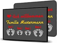 Printalio - Wunschtext - 4 Füsse - Schmutzmatte