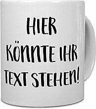 PrintPlanet® - Tasse mit eigenem Text bedrucken lassen - Kaffeebecher mit Wunschtext oder Spruch personalisieren - Becher Hellblau