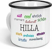 printplanet - Emaille-Tasse mit Namen Hilla -