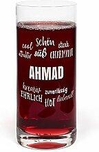 PrintPlanet® Glas mit Namen Ahmad graviert -