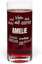printplanet® Glas mit Namen Amelie graviert -