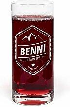 PrintPlanet® Glas mit Namen Benni graviert -