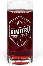 PrintPlanet® Glas mit Namen Dimitrij graviert -