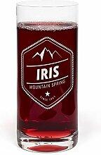 PrintPlanet® Glas mit Namen Iris graviert -