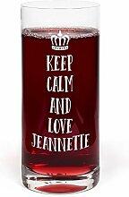 PrintPlanet® Glas mit Namen Jeannette graviert -