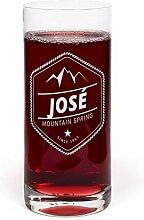 PrintPlanet® Glas mit Namen José graviert -