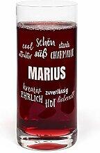 PrintPlanet® Glas mit Namen Marius graviert -