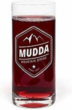 PrintPlanet® Glas mit Namen Mudda graviert -
