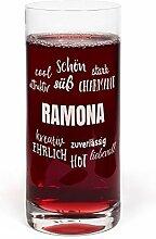 PrintPlanet® Glas mit Namen Ramona graviert -